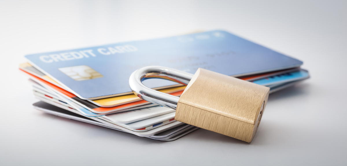 lock on top of credit cards