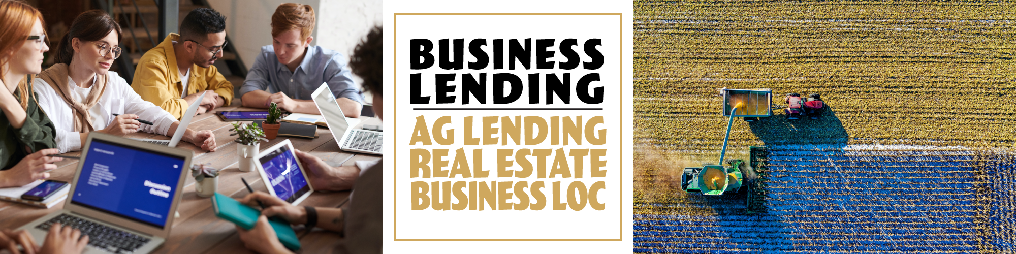 Business lending options include ag lending, business loc, real estate and much more!
