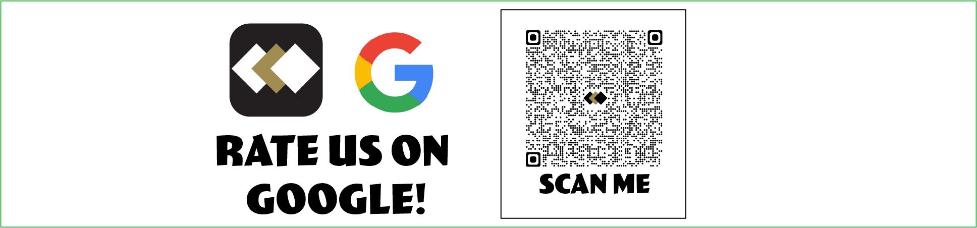 Rate us on google. SBR logo. Google logo. QR code
