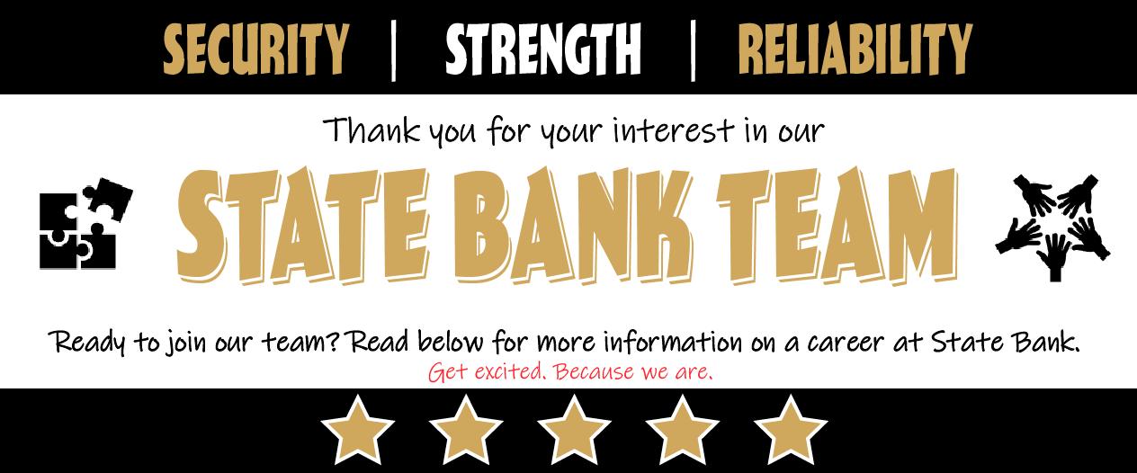 State Bank of Reeseville is hiring. Customer Service Representatives; Bank Tellers; Lending Officers; Operations; Loan Officers; AG Lenders; Commercial Lenders; Consumer Lenders.