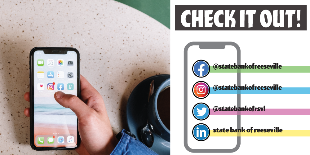 Get social with us. Find State Bank of Reeseville on Twitter, Facebook, Instagram and LinkedIn.